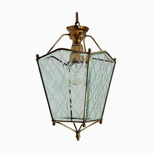 Vintage Italian Lantern in Crystal Cut Glass and Brass, 1950s