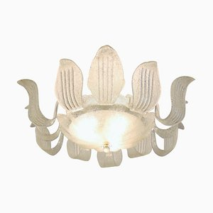 Italian Chandelier with Murano Ice Glass Leaves, 1960s