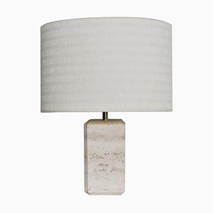 Italian Table Lamp in Travertine Marble, 1970s