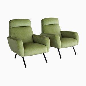 Italian Armchairs in Green Velvet, 1960s, Set of 2