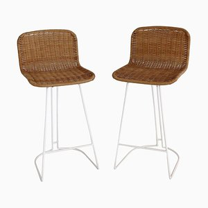 Italian Barstools in Wicker and Metal from Cidue, 1980s, Set of 2