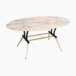 Italian Coffee Table with Pink and Grey Marble and Brass Feet, 1950s