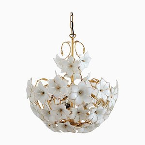 Vintage Italian Murano Glass and Brass Chandelier with White Glass Flowers, 1970s