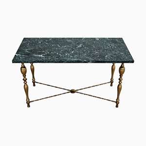 Italian Coffee Table with Marble Top and Brass Base, 1950s