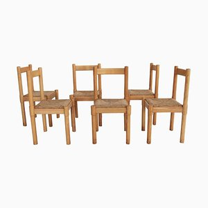Carimate Dining Chairs in Oak and Rush by Vico Magistretti for Cassina, 1970s, Set of 6
