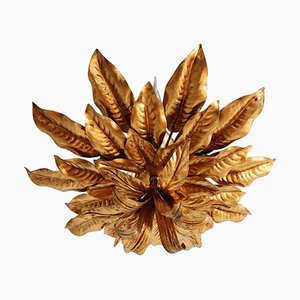 Large Italian Gilt Ceiling Lamp with Leaves by Hans Kögl, 1970s
