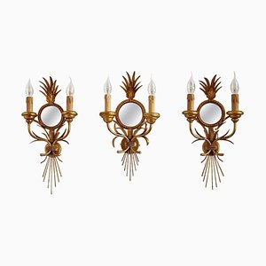 Gilt Wall Sconces with Antique Mirror and Leaves by Hans Kögl, 1970s, Set of 3