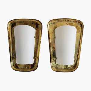 Large Mid-Century Brass and Glass Wall Sconces from Castle Interior, 1950s, Set of 2