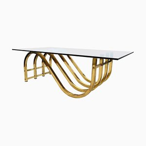 Italian Coffee Table with Brass Base, 1970s