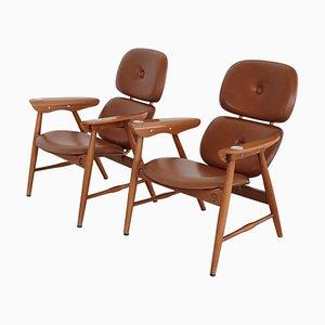 Italian Plywood Armchairs with Ashtrays from Poltronova, 1960s, Set of 2