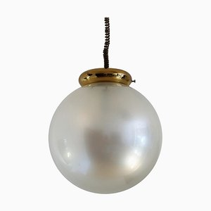 Italian Murano Glass Pendant in Pearl Optic with Brass Details, 1970s