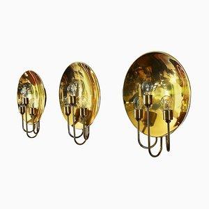 German Brass Sconces by Florian Schulz, 1970s, Set of 3