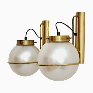 Italian Murano Glass Wall Sconces in Pearl Optic with Brass Details, 1970s, Set of 2