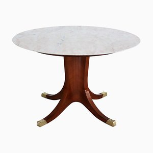 Italian Pink Marble and Mahogany Veneer Dining Table, 1950s