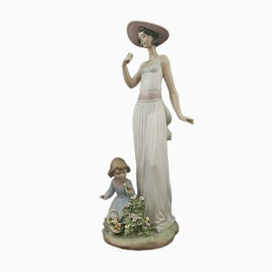 Lladro Figurine Lady with Child and Flowers