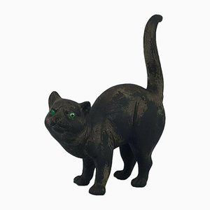 Wedgwood Black Basalt Model of a Cat with Green Glass Eyes