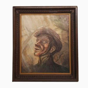 Portrait of a Miner, Oil on Board