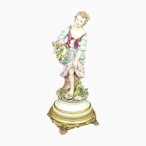 Capodimonte Figurine Lady with Flower Basket
