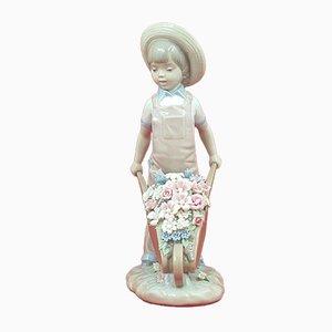 Wheelbarrow with Flowers Boy Figurine from Lladro