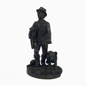 Bronzed Shepherd Carrying Baby Sheep & Walking Dog