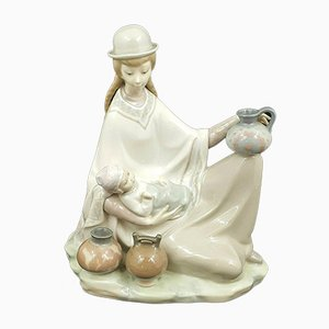 Large Lladro Figurine Peruvian Girl with Baby