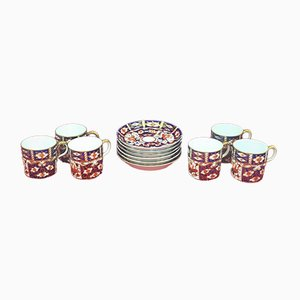 Royal Crown Derby Imari Pattern No. 2451 Coffee Cup & Saucer, Set of 6