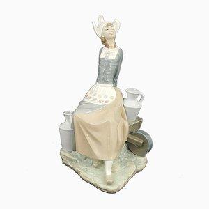 Lladro Figurine Milkmaid with Wheelbarrow