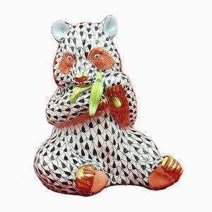 Herend Fishnet Figurine Sitting Panda Bear Eating Bamboo