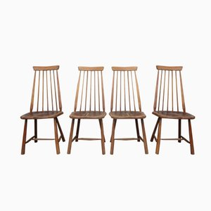 Mid-Century Swedish High Back Spindle Chairs, Set of 4