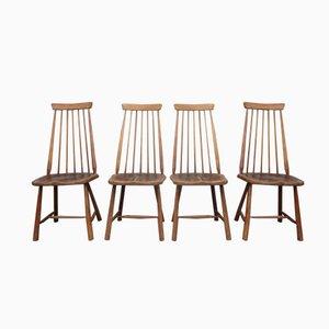 Schwedische Mid-Century Stühle mit Hoher Lehne, 4er Set