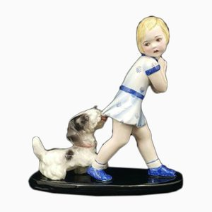Goldscheider Figurine Young Girl Playing with Dog