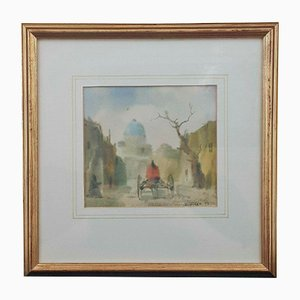 Landscape of Horse & Cart Heading Home, Water Colour