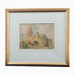 Landscape of People Walking Camels, Water Colour