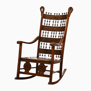Arts & Crafts Rocking Chair with Embossed Leather Panels