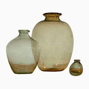 Glass Vases from Biot, France, 1960, Set of 3
