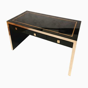 Lacquered Wood & Brass Desk by Jean Claude Mahey, 1970s
