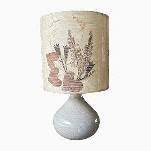 Vintage Enameled Stoneware Lamp with Herbarium Shade