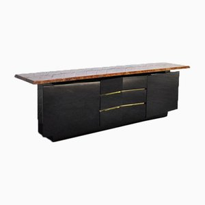 Burl Wood and Black Lacquer Sideboard from Roche Bobois, 1980s