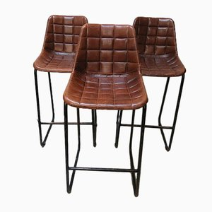 Vintage Bar Stools with Leather Seats, Set of 3