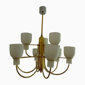 Brass Ceiling Lamp with Opal Glass Shades in the Style of Gino Sarfatti