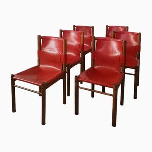 Leather and Wood Chairs from IBISCO, Italy, 1970s, Set of 6