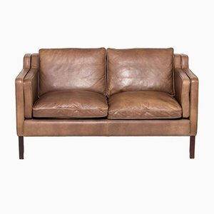 Danish Brown Leather 2-Seater Eva Sofa from Stouby