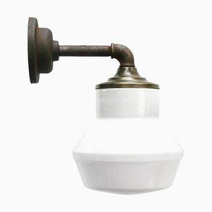 Vintage White Opaline Milk Glass, Brass & Cast Iron Sconce