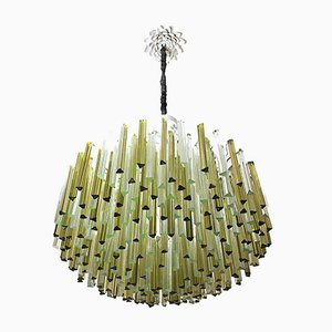 Chandelier with 330 Triedri in two-colored Murano Glass from Venini, 1950s