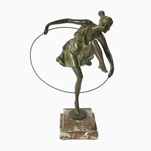 Art Deco Dancer with Hoop by Bruno Zach, Bronze on Marble Sculpture, 1920s