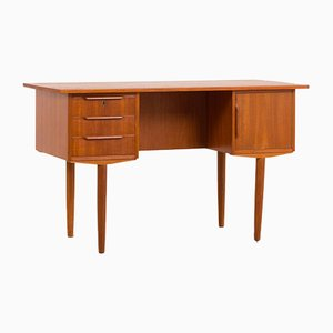 Mid-Century Danish Teak Freestanding Desk with 3 Drawers and a Cabinet