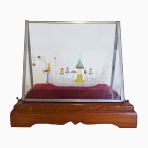 Glass Case with Handmade Viking ship, 1960s