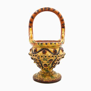 Polychrome Glazed Clay Pipe Brazier from Torhout, Belgium, Early 19th Century