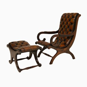 Antique Regency Style Leather Armchair & Stool, Set of 2
