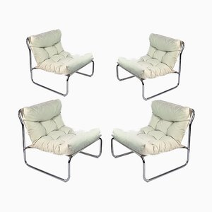 Chrome Plated Tubular Steel Chairs with Canvas Upholstery, Set of 4, 1970s